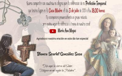 Profesión temporal de Blanca Scarlet en Madrid