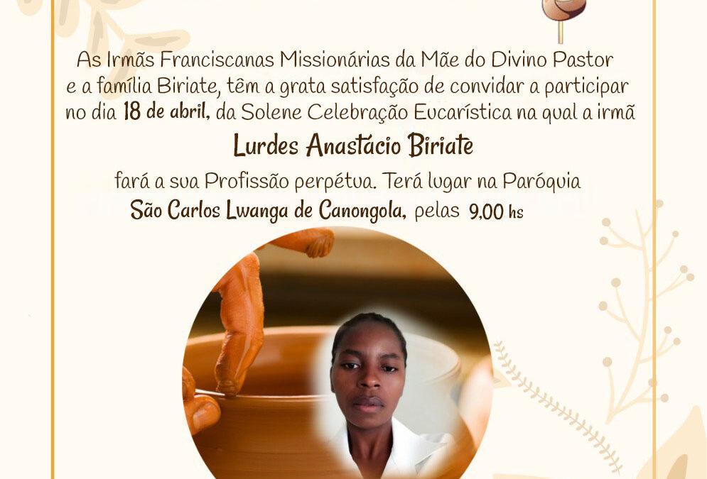 Próxima Profesión Perpetua de Lurdes en Mozambique